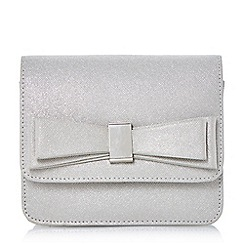 Head Over Heels by Dune - Silver 'Bedilia' bow detail box clutch bag