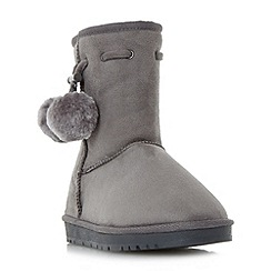 Head Over Heels by Dune - Grey 'Rozz' warm lined pom pom ankle boot