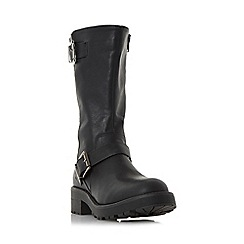 Head Over Heels by Dune - Black 'Ria' buckle detail calf biker boot