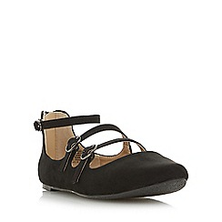 Head Over Heels by Dune - Black 'Hamara' multi buckle strap mary jane flat shoe