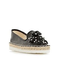Head Over Heels by Dune - Black 'Enista' floral embellished espadrille shoes