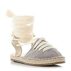 Head Over Heels by Dune - Grey 'Giah' tie detail espadrille sandals