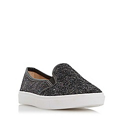 Head Over Heels by Dune - Black 'Elsaa' cracked leather effect slip on trainer