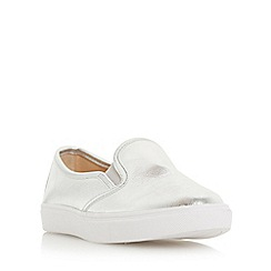 Head Over Heels by Dune - Silver 'Elsa' round toe slip on trainers