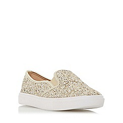 Head Over Heels by Dune - Gold 'Elsaa' cracked leather effect slip on trainer