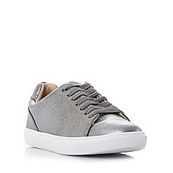 Head Over Heels by Dune - Silver 'Ebeline' textured lace up trainer