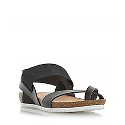 Head Over Heels by Dune - Black 'Laury' elasticated strap flat sandals