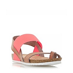 Head Over Heels by Dune - Dark peach 'Laury' elasticated strap flat sandals