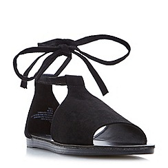 Head Over Heels by Dune - Black 'Lizzie' ankle tie flat sandals