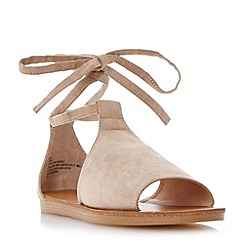 Head Over Heels by Dune - Taupe 'Lizzie' ankle tie flat sandals