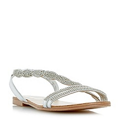 Head Over Heels by Dune - Silver 'Lailana' beaded asymmetric strap flat sandals