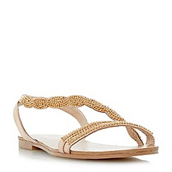 Head Over Heels by Dune - Rose 'Lailana' beaded asymmetric strap flat sandals