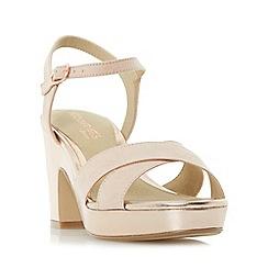 Head Over Heels by Dune - Natural 'Jacki' cross strap block heel sandals