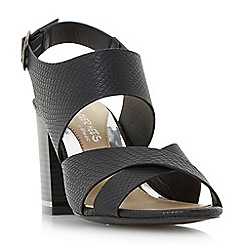 Head Over Heels by Dune - Black 'Jaya' stack heel cross strap sandals