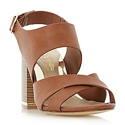 Head Over Heels by Dune - Tan 'Jaya' stack heel cross strap sandals