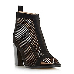 Head Over Heels by Dune - Black 'Jinxx' perforated peep toe sandals