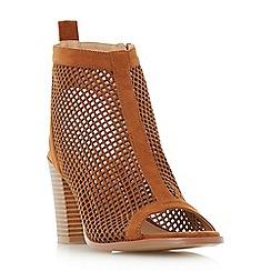 Head Over Heels by Dune - Tan 'Jinxx' perforated peep toe sandals