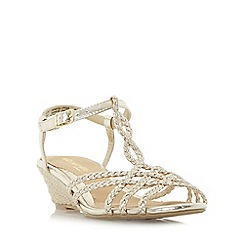 Head Over Heels by Dune - Gold 'Kitti' twisted plait detail mini wedge sandals