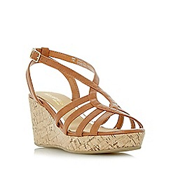 Head Over Heels by Dune - Tan 'Kimmi' strappy wedge sandals