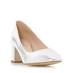Head Over Heels by Dune - Silver 'Alisia' flared block heel court shoe