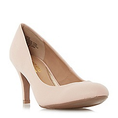 Head Over Heels by Dune - Natural 'Annie' round toe mid heel court shoes
