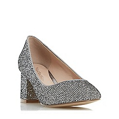 Head Over Heels by Dune - Silver 'Agnitha' round toe block heel court shoe