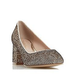 Head Over Heels by Dune - Gold 'Agnitha' round toe block heel court shoe