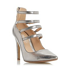 Head Over Heels by Dune - Silver 'Alora' strappy high heel court shoe