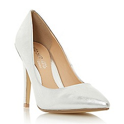 Head Over Heels by Dune - Silver 'Addelyn' metal heel trim court shoes