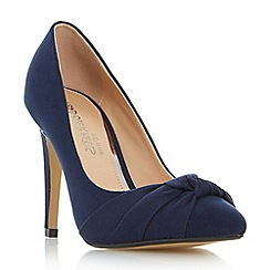 Head Over Heels by Dune - Navy 'Arria' knot detail pointed toe court shoes
