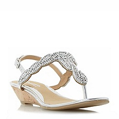 Head Over Heels by Dune - Silver 'Naavi' beaded toe post mini wedge sandals
