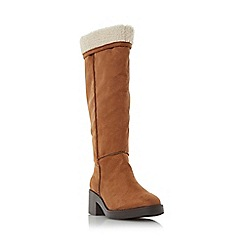 Head Over Heels by Dune - Tan 'Tandra' shearling lined knee high boot