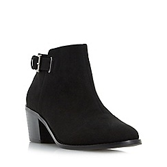 Head Over Heels by Dune - Black 'Priyanka' buckle strap block heel ankle boot
