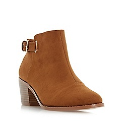 Head Over Heels by Dune - Tan 'Priyanka' buckle strap block heel ankle boot