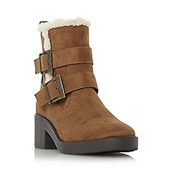 Head Over Heels by Dune - Tan 'Panya' buckle strap shearling lined ankle boot