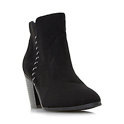 Head Over Heels by Dune - Black 'Pandoro' whipstitch detail block heel ankle boot
