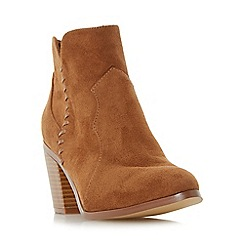 Head Over Heels by Dune - Tan 'Pandoro' whipstitch detail block heel ankle boot