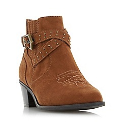 Head Over Heels by Dune - Tan 'Paxx' buckle detail western ankle boot