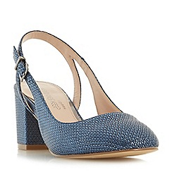 Head Over Heels by Dune - Navy 'Charly' block heel slingback court shoes