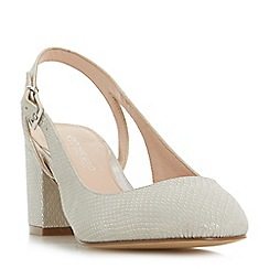 Head Over Heels by Dune - Grey 'Charly' block heel slingback court shoes