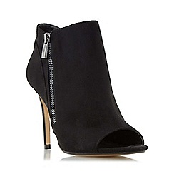 Head Over Heels by Dune - Black 'Catty' high heel peep toe ankle boot
