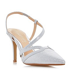 Head Over Heels by Dune - Silver 'Chloe' asymmetric pointed toe court shoes