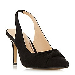 Head Over Heels by Dune - Black 'Charlise' knot detail sling back court shoes