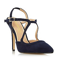 Dune - Navy 'Caira' asymmetric strappy pointed toe court shoes