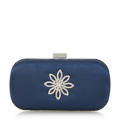 Roland Cartier - Navy 'Blousie' brooch detail box clutch bag
