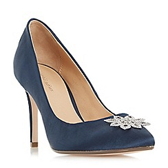 Roland Cartier - Navy 'Beeming' brooch detail pointed toe court shoes