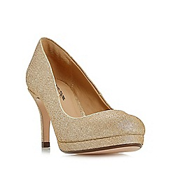 Roland Cartier - Gold 'Baley' glitter platform court shoes