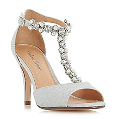 Dune - Silver 'Mesmorise' jewel and pearl embellished  t-bar peep toe sandals