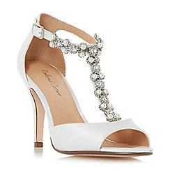 Dune - Ivory 'Mesmorise' jewel and pearl embellished  t-bar peep toe sandals