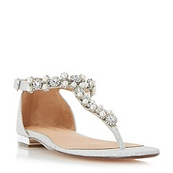 Roland Cartier - Silver 'Nevara' jewelled t-bar toe post sandals